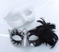 White & Black Flick Flower Masks